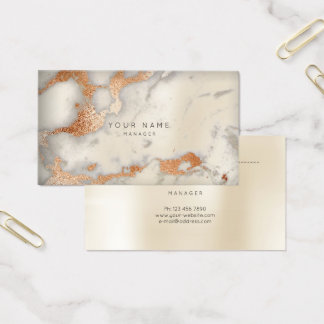 Abstract Marble Appointment Card Copper Gold Ivory