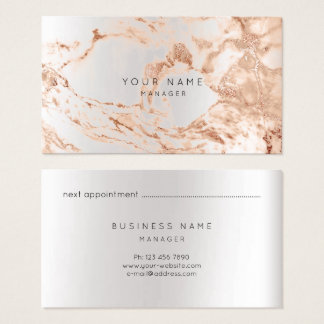 Abstract Marble Appointment Card Silver Copper VIP