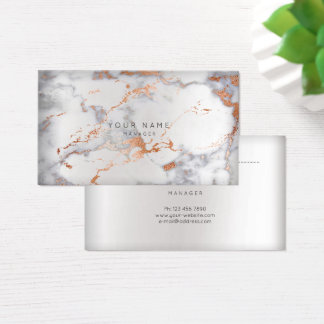 Abstract Marble Gray Appointment Silver Copper VIP Business Card