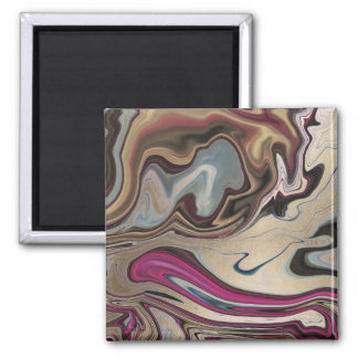 Abstract Marbled Faux Gold Magenta Blue Magnet
