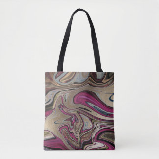 Abstract Marbled Faux Gold Pink Turquoise Black Tote Bag