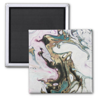 Abstract Marbled Faux Gold White Black Turquoise Magnet