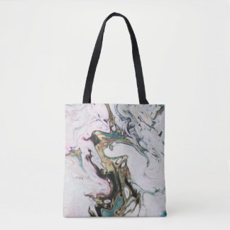 Abstract Marbled Faux Gold White Black Turquoise Tote Bag