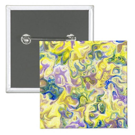 Abstract Marbled Purple Yellow Blue Design Button