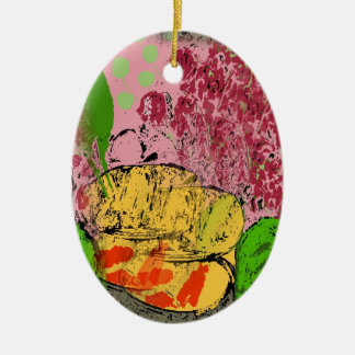 Abstract Matisse Style Shapes Ceramic Oval Decoration