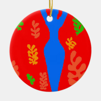 Abstract Matisse Style Shapes Round Ceramic Decoration