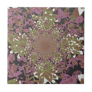 Abstract Mauve Tones Floral Dahlia Flower Pattern Ceramic Tile