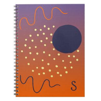 Abstract Memphis Design Purple-Orange Monogram Notebooks