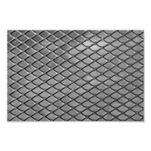 Abstract Metal Grid Posters