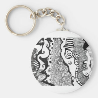 Abstract mind basic round button key ring