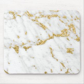 Abstract Minimal Gold White Gray Carrara Marble Mouse Pad