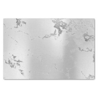 Abstract Minimal Silver Gray Metallic Marble Lux Tissue Paper