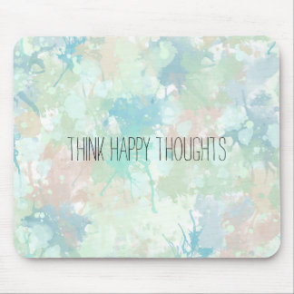 Abstract Mint Blue Watercolor Splashes Happy Mouse Pad