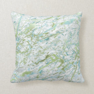 Abstract Mint Green Blue White Marble Luxury Cushion