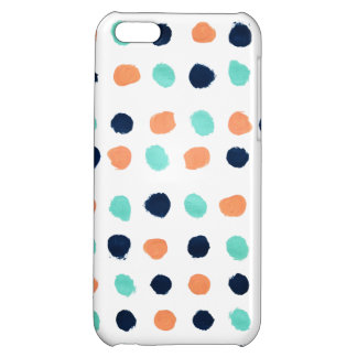 Abstract Mint, Navy, Coral Dots Painting iPhone 5C Cover