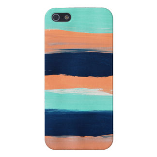 Abstract Mint, Navy, Coral Stripes Painting iPhone 5/5S Case