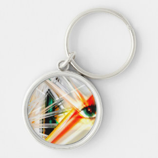 abstract mix media Silver-Colored round key ring