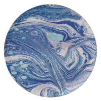 Abstract Mixed of Blues art Melamine Plate