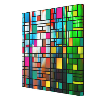 Abstract Modern Art Grid Pattern Wrapped Canvas