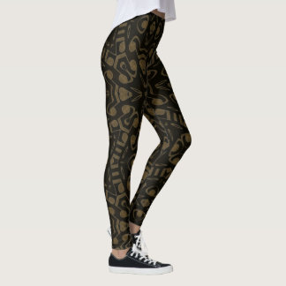 Abstract Modern Black And Gold Pattern Leggings