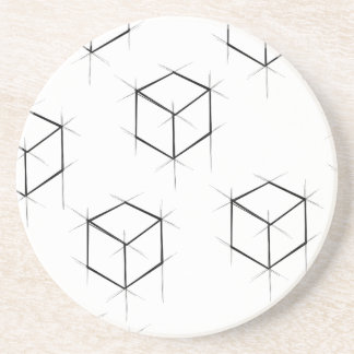 Abstract modern blueprint style cubic boxes coaster