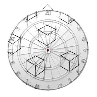Abstract modern blueprint style cubic boxes dart board