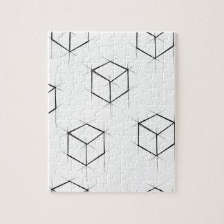 Abstract modern blueprint style cubic boxes jigsaw puzzle