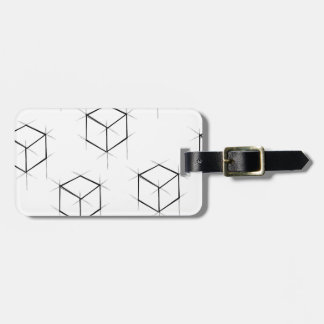 Abstract modern blueprint style cubic boxes luggage tag