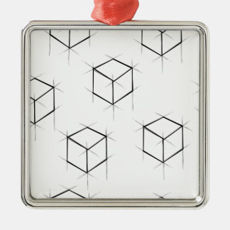 Abstract modern blueprint style cubic boxes metal ornament