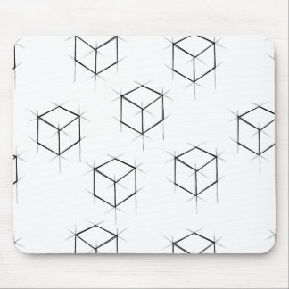Abstract modern blueprint style cubic boxes mouse pad