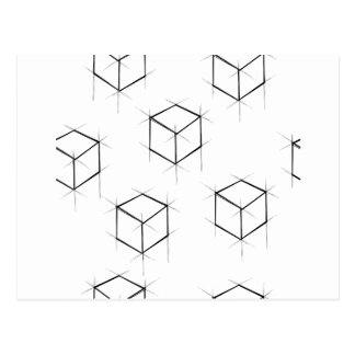 Abstract modern blueprint style cubic boxes postcard