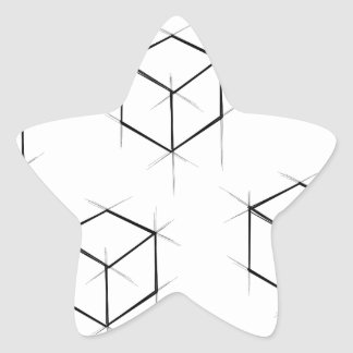 Abstract modern blueprint style cubic boxes star sticker