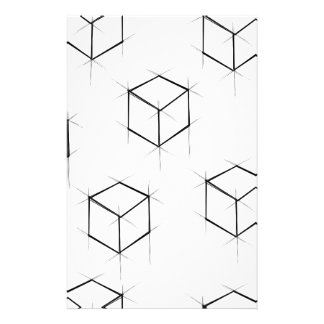Abstract modern blueprint style cubic boxes stationery