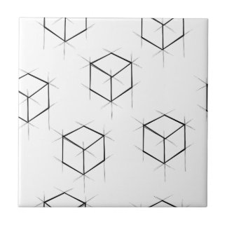 Abstract modern blueprint style cubic boxes tile