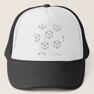 Abstract modern blueprint style cubic boxes trucker hat
