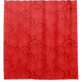 Abstract Modern Contemporary Red Circle Pattern Shower Curtain