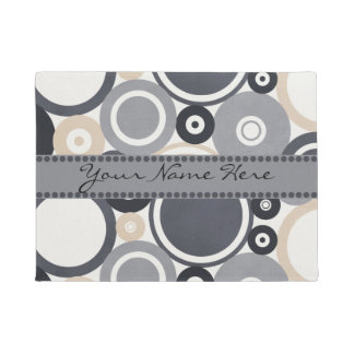 Abstract Modern Personalized Blue Gray Bubbles Doormat