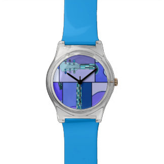 Abstract Modern Pop Art Guitar in Shades of Blue Wrist Watch