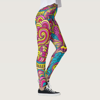 Abstract Modern Style Trendy Doodles Leggings