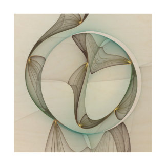 Abstract Modern Turquoise Brown Gold Elegance Wood Print