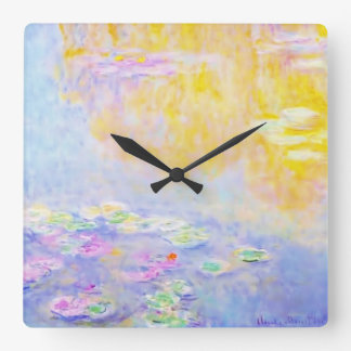 abstract, monet water lilies 7 square wall clock