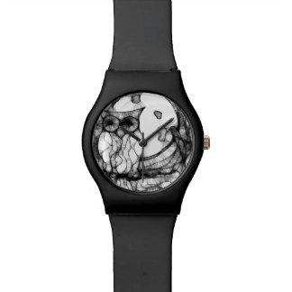 Abstract moody owl wristwatch