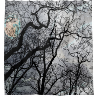 Abstract moon tree black white teal Shower curtain