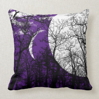 Abstract Moon Tree Purple black white Throw pillow