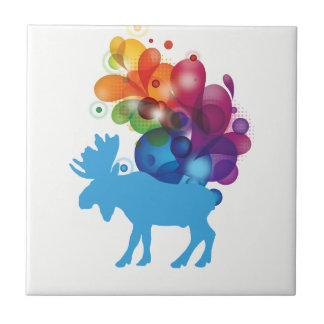 Abstract Moose Ceramic Tile