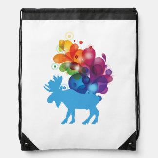 Abstract Moose Drawstring Backpack