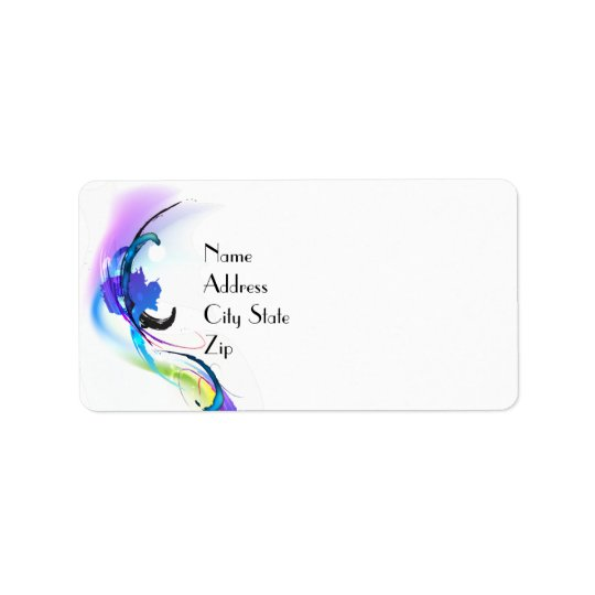 Abstract Morning Glory Paint Splatters Address Label