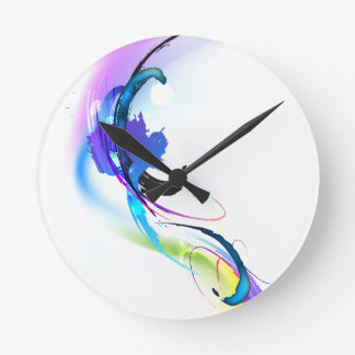 Abstract Morning Glory Paint Splatters Round Clock