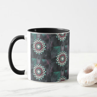 Abstract Morning Zen Dot Mandala Red White Teal Mug