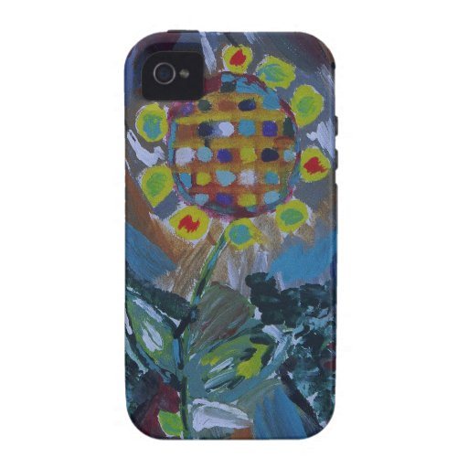 Abstract mosaic flower with earth tones iPhone 4 cover